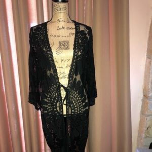 Other - Black Sheer Crochet Lace Long Duster Coverup L/XL